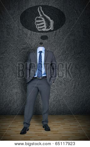 Composite image of headless businessman with thumbs up in thought bubble in grey room