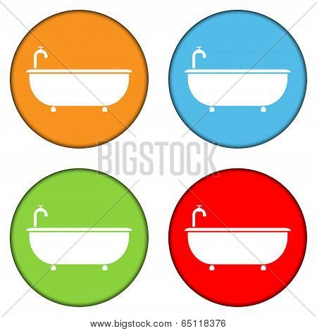 Bathtub Icons Set