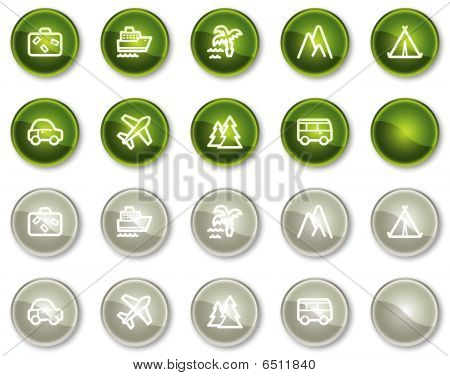 Travel web icons set 1, green and grey circle buttons series
