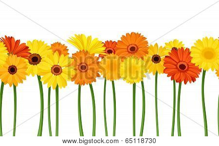 Horizontal seamless background with gerbera flowers. Vector illustration.