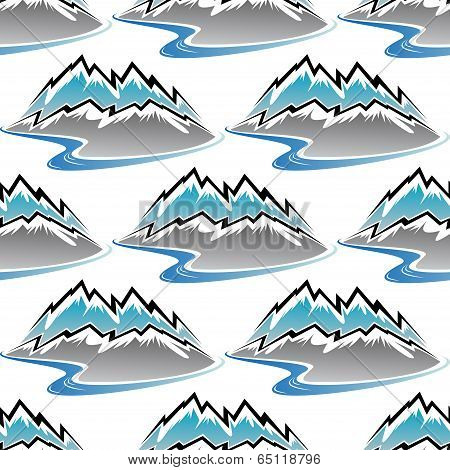 Seamless pattern of winter mountains and streams