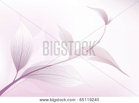 Tree branch with leaves. Floral background. Vector illustration