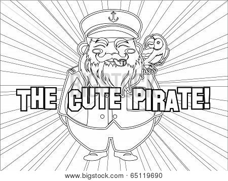 Outlined Cute Captain Pirate