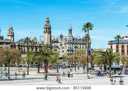 Promenade By Port Vell In Barcelona, Spain.
