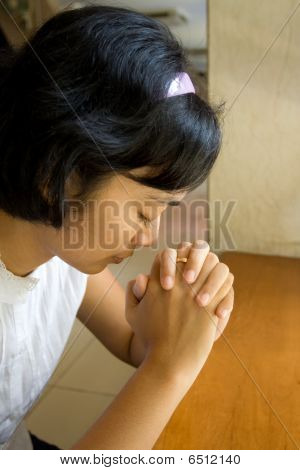 Woman Pray In Church
