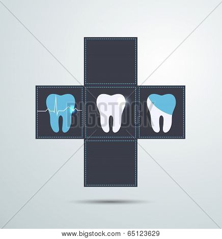 Tooth Icons, Caries And Treatment Symbols. Beautiful Light Blue Color