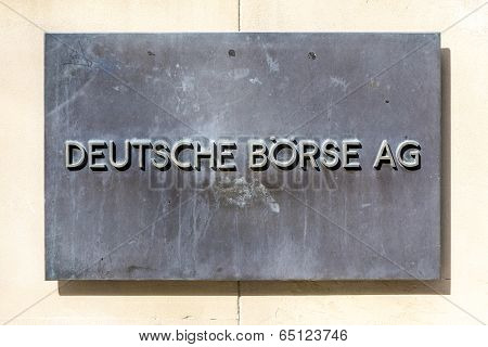 Sign Deutsche Börse Ag - German Stock Exchange In Front Of Frankfurt Stock Exchange