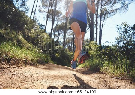 low angle view of trail runner exercising for marathon