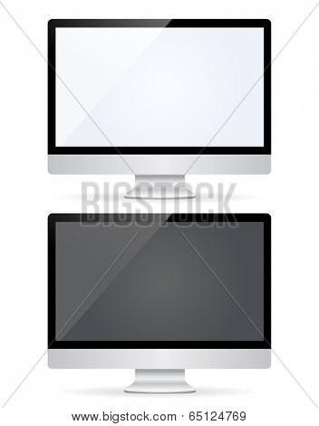 Vector illustration of computer monitor with black and white empty screen. Isolated on white background
