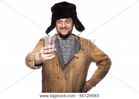Happy russian man offering a vodka, cheers