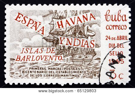 Postage Stamp Cuba 1965 Sailing Ship On The Sea
