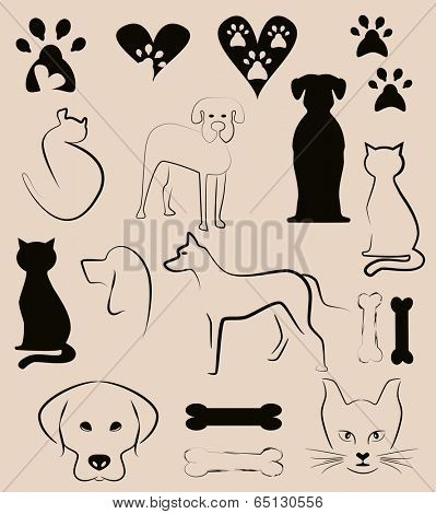 cats and dogs, pet shop concept