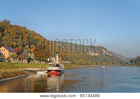 A small steamer on the Elbe in Saxony, Germany