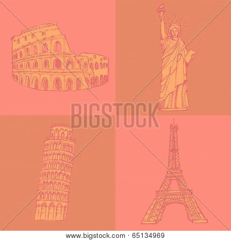 Sketch Eifel Tower, Pisa Tower, Coloseum And Statue Of Liberty, Vector  Set