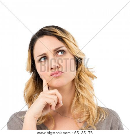 Portrait Of Worried Woman Thinking Isolated On White Background