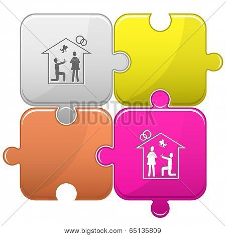 Home affiance. Vector puzzle.