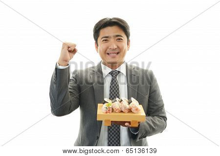 Sushi chef and customer