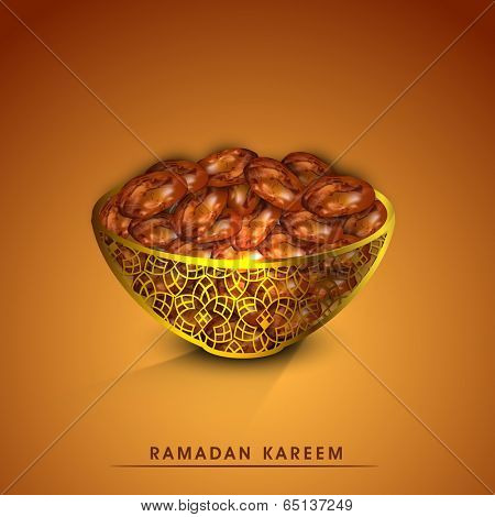 Holy month of muslim community Ramadan Kareem greeting card with fresh dates for Iftar food.