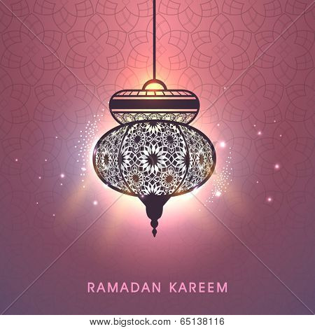 Beautiful floral decorated illuminate arabic lantern on shiny peach background, greeting card design for Ramadan Kareem, holy month of Ramadan Kareem.