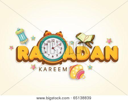 Creative greeting card design with stylish text Ramadan Kareem with arabic lamp, Quran Sharif and clock.