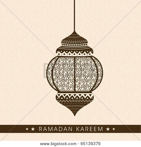 Beautiful hanging arabic lamp or lantern, greeting card or invitation card design for holy month of muslim community Ramadan Kareem.