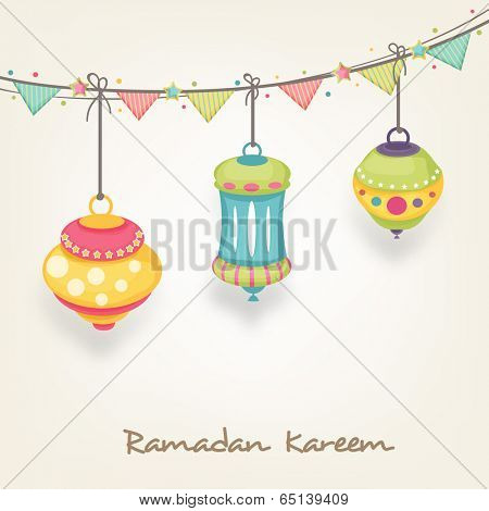 Beautiful flyer, poster or banner design with hanging colourful arabic lamps or lanterns on brown background for holy month of Ramadan Kareem.