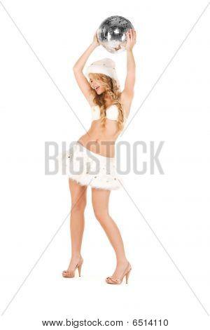 Sexy Santa Helper With Disco Ball