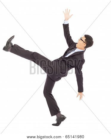 Businessman Slip And Fall And  A Funny Pose