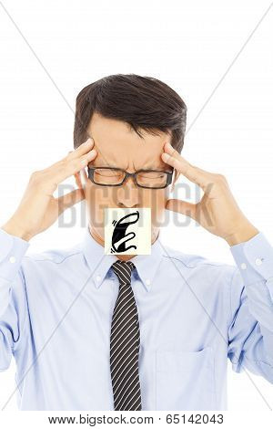 Businessman With Headache And Blame Expression On Sticker