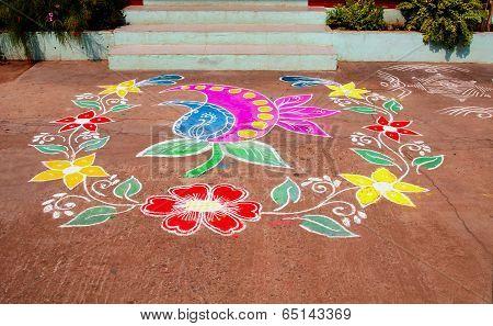 Multicoloured Traditional Rangoli Indian House