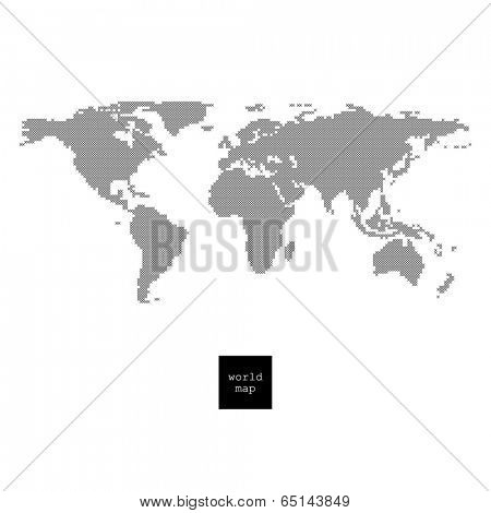 Reticulated world map isolated on white