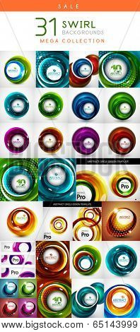 Mega set of swirl circles abstract vector backgrounds. Circle | helix | rotation | spiral motion concepts