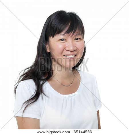 Asian woman smiling happy portrait. Mature middle aged Chinese Asian woman closeup portrait, isolated on white background.