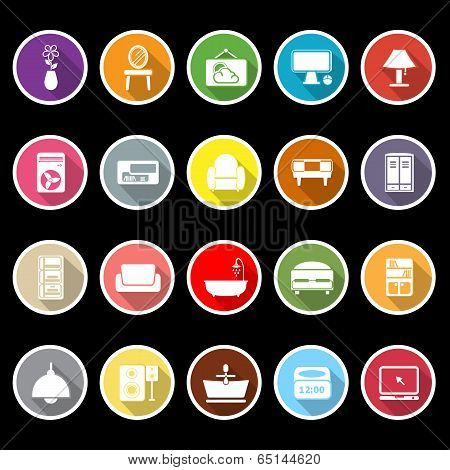 Home Furniture Icons With Long Shadow