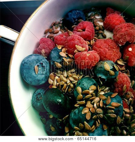 Berries and Flaxseed Healthy Food