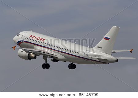 Departing Rossiya - Russian Airlines Airbus A319-111 aircraft