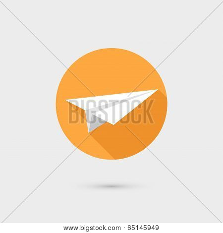 Flying paper airplane symbol icon vector illustration, flat design