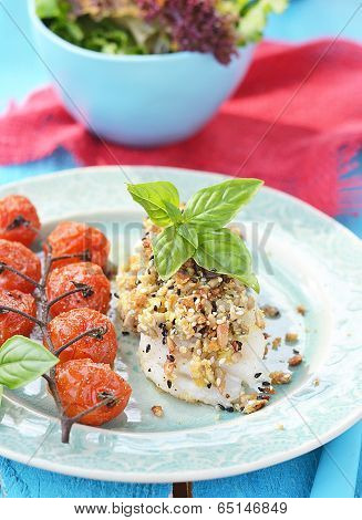 Codfish Fillet With Baked Cherry Tomato