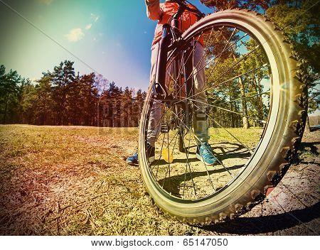 Mountain Bike And Blue Sky Background