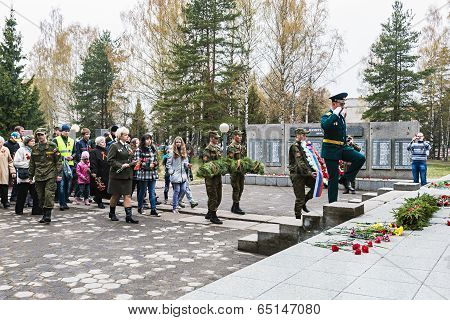 Laying Of Wreaths At The Monument To Fallen Soldiers