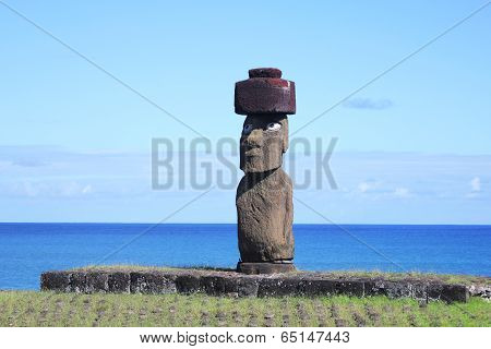 The only moai with eyes on Easter Island