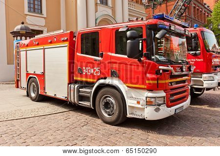 Fire-fighting Vehicle Scania In Torun, Poland