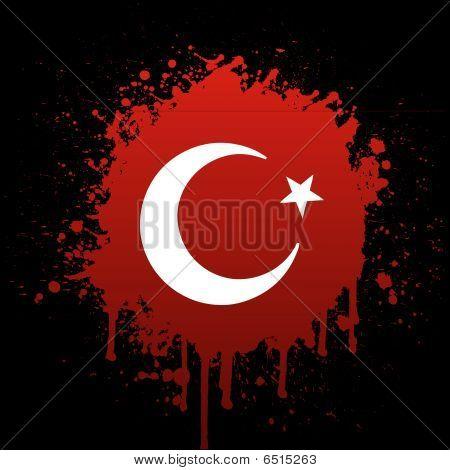 türkischer Flagge in roten Spritzer