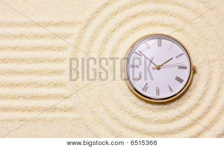 Old Watch On Sand In Composition Of Japanese Rock-garden