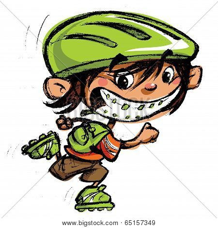 Cartoon Happy Boy Crazy Braces Smiling Skating With Roller Blades