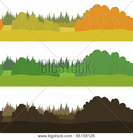 Set seamless landscapes, forest