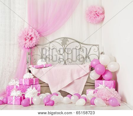 Birthday Party Room Background With Gift Boxes. Kids Celebration Presents Girl Or Woman