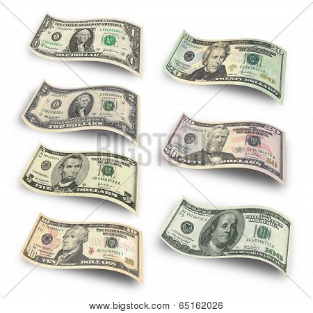Set of dollar banknotes