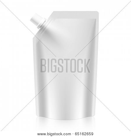 Blank spout pouch, bag foil or plastic packaging. Vector.