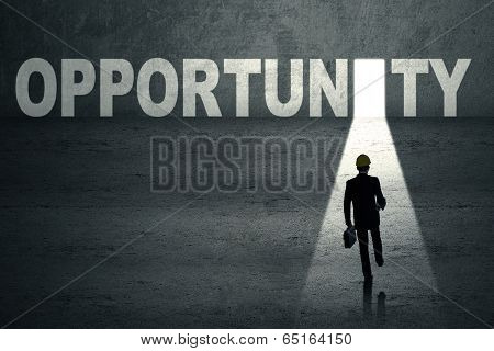 Businessman On Opportunity Door